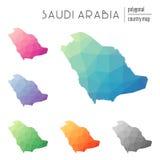 Set wektorowe poligonalne Arabia Saudyjska mapy Obraz Royalty Free