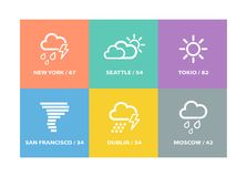 Set wektorowe prognoz pogody ikony, znaki i royalty ilustracja