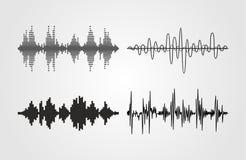 Set wektorowe rozsądne fala Audio wyrównywacz technologia, pulsu musical Zdjęcie Stock