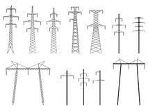 Set wektorowe sylwetki pilonów linia energetyczna. Zdjęcia Royalty Free