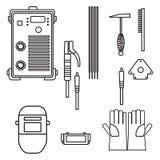 Set wektorowego ilustracyjnego spawalniczego łuku wyposażenia hełma właściciela maszynowy rękawiczkowy młot dla przemysłowej budo ilustracji
