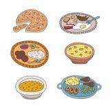 Set wektorowego pied doodle karmowe ikony w mieszkanie stylu ilustracja wektor