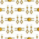 Set wektorowej biżuterii linii bezszwowy wzór Diamentowa luksusowa kolorowa kolekcja Kolczyki i bransoletek sylwetki Obrazy Stock
