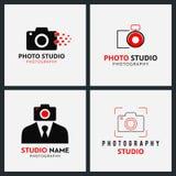 Set 4 Wektorowej Czarnej i Czerwonych ikony dla fotografa Kamera Ico ilustracji