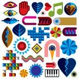 Set wektorowi abstrakcjonistycznej sztuki symbole, różny nowożytny stylowy wykres Fotografia Royalty Free