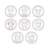Set wektorowi avatars i charaktery w mono cienkim kreskowym stylu Zdjęcie Royalty Free