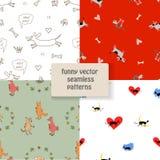 Set wektorowi bezszwowi śmieszni wzory Śmieszni psy, koty, lis i kogut, Obrazy Stock