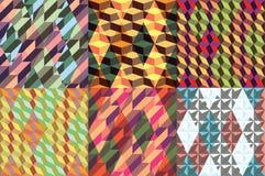 Set wektorowi bezszwowi geometrical wzory Rocznik tekstury Zdjęcia Stock