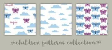 Set wektorowi bezszwowi wzory dla dzieci Płaski kreskówki tło z motylami, chmury, dragonflies Śliczny różowy i błękitny ilustracja wektor