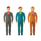 Set wektorowi biznesmeni w kostiumach w mieszkanie stylu royalty ilustracja