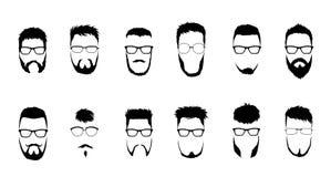 Set wektorowi brodaci mężczyźni stawia czoło, modnisie z różnymi ostrzyżeniami, wąsy, brody Sylwetki, emblematy, ikony ilustracja wektor