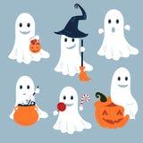 Set wektorowi duchy dla Halloweenowego projekta royalty ilustracja