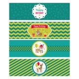 Set wektorowi elementy dla urodzinowego projekta Etykietki i majchery dla napojów Dziecka ` s wakacje royalty ilustracja