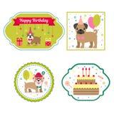Set wektorowi elementy dla urodzinowego projekta Etykietki i majchery dla napojów Dziecka ` s wakacje ilustracja wektor