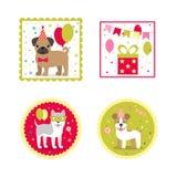 Set wektorowi elementy dla urodzinowego projekta Etykietki i majchery dla napojów Dziecka ` s wakacje ilustracji