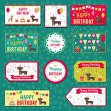 Set wektorowi elementy dla urodzinowego projekta Etykietki, majchery, etykietki dla prezentów, zaproszenia i gratulacje, Dzieci royalty ilustracja
