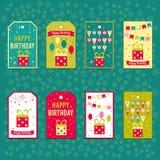 Set wektorowi elementy dla urodzinowego projekta Etykietki, majchery, etykietki dla prezentów, zaproszenia i gratulacje, Dzieci ilustracji