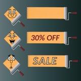 Set wektorowi elementy dla zawiadomień sprzedaże, rabaty Ilustracja Wektor