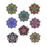 Set wektorowi etniczni kółkowi kwieciści wzory lub mandalas Zdjęcie Royalty Free