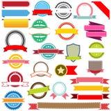 Set wektorowi faborki, etykietki, sztandary i emblematy, Obrazy Royalty Free