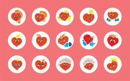 Set 15 wektorowi ilustracji dzieci animacji charakterów serc dziewczyn i chłopiec ilustracji