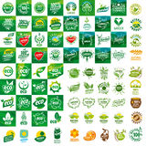 Set wektorowi logowie dla naturalnych produktów Obrazy Stock