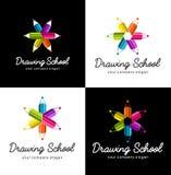 Set wektorowi logowie dla szkolnego rysunku Zdjęcia Royalty Free