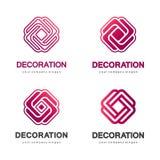 Set wektorowi logowie dla wnętrza, mebli sklepów, wystrój rzeczy i domowej dekoraci, Zdjęcie Royalty Free