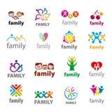 Set wektorowi logowie rodzinni Obraz Stock