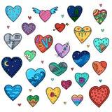 Set wektorowi nakreśleń serca odizolowywający Zdjęcie Stock