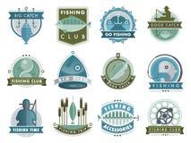 Set wektorowi odznaka majchery na łapanie ryba owoce morza przygody połowu klubu sklepu odznaki wektoru ilustraci