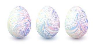 Set wektorowi pastelowi kolory wykładał marmurem Easter jajka Fotografia Royalty Free