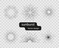 Set wektorowi retro słoneczni lekcy promienie od prostych linii Abstrakcjonistyczni promienie słońce Sunburst projektów elementy  ilustracja wektor