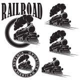 Set wektorowi szablony z lokomotywą, rocznika pociąg ilustracji