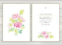 Set wektorowi tła dla powitań lub zaproszenia z uroczymi abstrakt menchiami kwitnie, kształtuje, i punkty royalty ilustracja