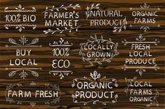 Set WEKTOROWI typograficzni elementy na drewnianym tle Rolnicy wprowadzać na rynek, uprawiają ziemię, świeżego eco jedzenie na bi Zdjęcie Royalty Free