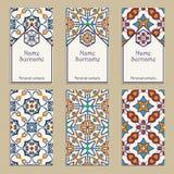 Set wektorowi wizytówka szablony Portugalczyk, marokańczyk, Azulejo, język arabski, azjata ornamenty royalty ilustracja