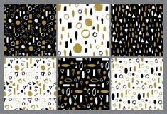 Set wektorowy bezszwowy wzór Doodle tło, ręka rysująca tekstura Suszy szczotkarską atrament sztukę Kolorowy projekt Fotografia Stock