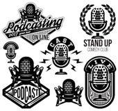 Set wektorowy elegancki retro wzór z mikrofonami, radio, podcast, przedstawienie ilustracja wektor