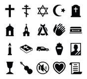 Set wektorowy ikona cmentarz, pogrzeb i i żałobni akcesoria ilustracji
