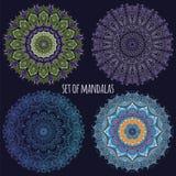 Set wektorowy koloru mandala na ciemnym tle Obraz Stock