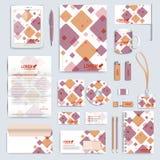 Set wektorowy korporacyjnej tożsamości szablon Nowożytny biznesowy materiały egzamin próbny Oznakować projekt z kwadratowymi kszt Obrazy Royalty Free