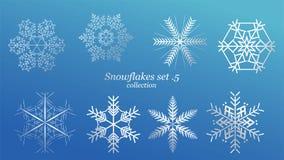 Set wektorowy płatek śniegu bożych narodzeń projekt z błękita lodu luksusowym kolorem na błękitnym tle Zima płatka kryształu biał ilustracji