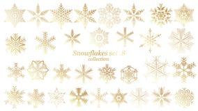 Set wektorowy płatek śniegu bożych narodzeń projekt z złocistym luksusowym kolorem na białym tle ilustracja wektor