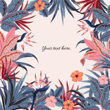 Set wektorowy piękny artystyczny jaskrawy tropikalny z egzotem f Zdjęcie Royalty Free