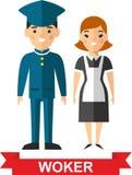 Set wektorowy pracownika mężczyzna i pracownik kobieta Zdjęcia Stock