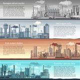 Set wektorowy przemysłowy fabryczny sztandaru krajobraz Abstrakcjonistyczna fabryka, Ropa i gaz rafineria, Chemiczna manufaktura ilustracji