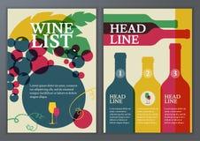 Set wektorowy szablon dla broszurki, ulotka, plakat, wino lista, m Zdjęcia Royalty Free