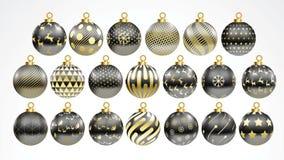 Set wektorowy złoto i czarne boże narodzenie piłki z ornamentami złotej kolekcji odosobnione realistyczne dekoracje również zwróc ilustracja wektor