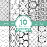 Set 10 Wektorowych Bezszwowych Geometrycznych linii Deseniuje tła fo Zdjęcia Stock